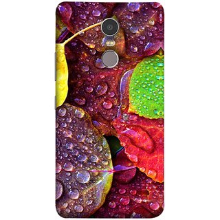 FUSON Designer Back Case Cover for Lenovo K6 Note (Big Leaf Leaves Lotus Raindrops Forest Raining Season)