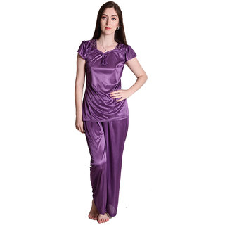 Senslife Satin Purple Cap Sleeve Nightwear Sleepwear Night Suit Top  Pajama Set SL008A
