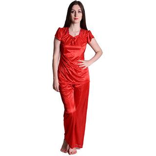 Senslife Satin Red Cap Sleeve Sleepwear Nightwear Night Suit Top  Pajama Set SL008B