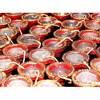 Designer Red small diyas combo set of 50 by Vidyawati