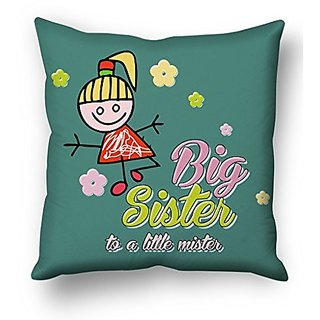 Sky Trends Big Sister To A little Mister With Floral Design Gifts For Brother And Sister For Happy Rakshabandhan Cushion Cover