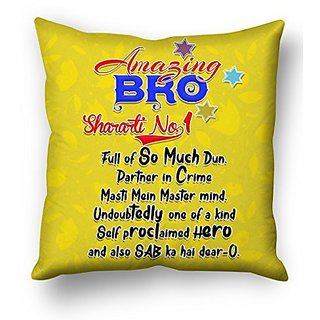 Sky Trends Amazing Brother Sharati No 1 Full Of So Much Dum.With Star Colored Yellow Background Gifts For Brother And Sister For Happy Rakshabandhan Cushion Cover