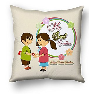 Sky Trends My Best Brother Happy Rakshabhan With Circle Flower Design Gifts For Sister And Brother For Rakshabandhan Cushion Cover