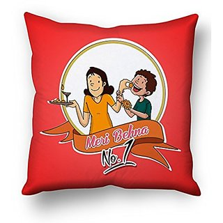 Sky Trends Meri Behna No 1 With Red Color Circle Background Gifts For Brother And Sister For Happy Rakshabandhan Cushion Cover