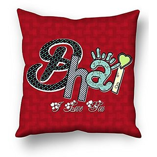 Sky Trends Bhai I Love You Colored Naming Green Heart Gifts For Sister And Brother For Happy Rakshabandhan Cushion Cover