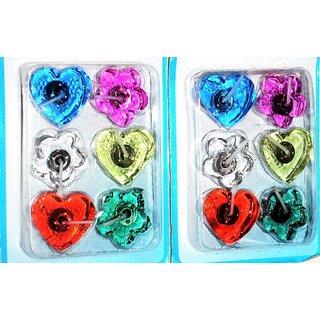 Designer Transparent Floating multicolor combo set of 12 by Vidyawati
