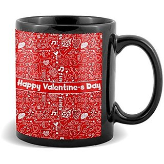 Happy Valetine s Day With White Heart  Mug Valetines