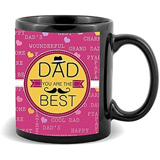 Dad You Are The Best With Dark Pink Background Special Gifts For Fathers Day  Mug