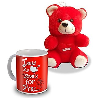 I Sad My  For You Happy Valentine Day Teddy and Mug Gifts For Valentines