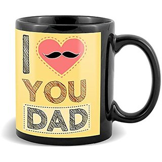 I Love You Dad With Cute Pink Heart And Black Mustaches Special Gifts For Fathers Day  Mug
