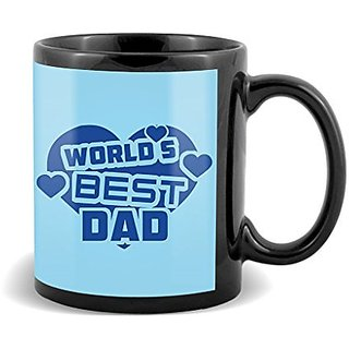 World s Best Dad With Blue Heart Background Unique Gifts For Fathers Day  Mug