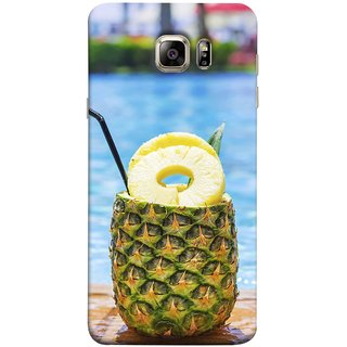 FUSON Designer Back Case Cover for Samsung Galaxy S6 Edge+ :: Samsung Galaxy S6 Edge Plus :: Samsung Galaxy S6 Edge+ G928G :: Samsung Galaxy S6 Edge+ G928F G928T G928A G928I (Fresh Pineapple Cocktails At Swimming Pool Blue Waters )