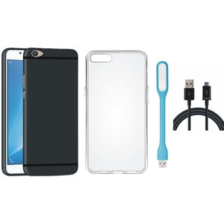 Oppo F3 Stylish Back Cover with Silicon Back Cover, USB LED Light and USB Cable