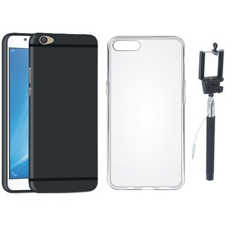 Oppo F3 Stylish Back Cover with Silicon Back Cover, Free Silicon Back Cover and Selfie Stick