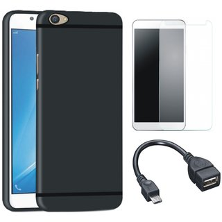 Oppo F3 Stylish Back Cover with Tempered Glass and OTG Cable