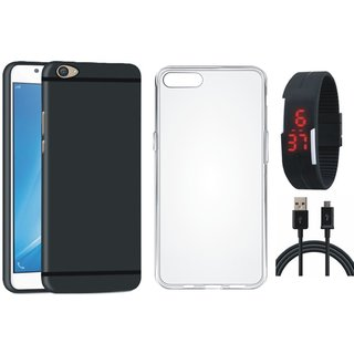 Oppo F3 Stylish Back Cover with Silicon Back Cover, Digital Watch and USB Cable