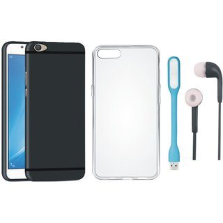 Oppo F3 Cover with Silicon Back Cover, Earphones and USB LED Light