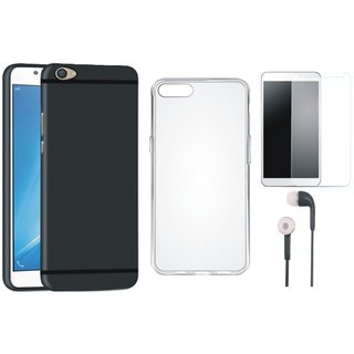 Oppo F3 Cover with Silicon Back Cover, Tempered Glass and Earphones