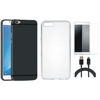 Oppo F3 Cover with Silicon Back Cover, Tempered Glass and USB Cable