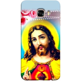 FUSON Designer Back Case Cover for Samsung Galaxy C7 SM-C7000 (Sacred Heart Of Jesus Christ Red Roses Long Hairs)