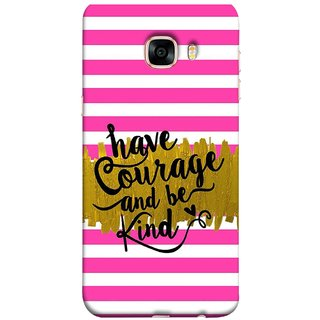 FUSON Designer Back Case Cover for Samsung Galaxy C7 SM-C7000 (Pink And White Horizontal Strips Gold Paint Black Font)