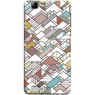 FUSON Designer Back Case Cover For Vivo X3S (Watercolor Horizontal Vertical Vector Lines Colourful)