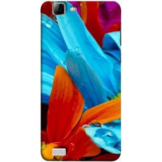 FUSON Designer Back Case Cover For Vivo X3S (Blue Prange Pink Multicolor Pink Flowers Patterns)