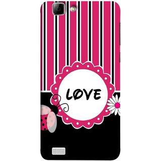 FUSON Designer Back Case Cover For Vivo X3S (Pink Black White Vertical Vector Strips Lines Designs)