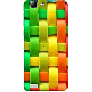 FUSON Designer Back Case Cover For Vivo Y27 :: Vivo Y27L (Bright And Beautiful Colour Strips And Band Wave )