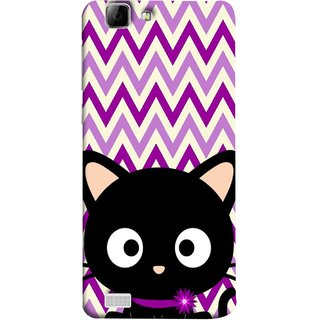FUSON Designer Back Case Cover For Vivo Y27 :: Vivo Y27L (Cat Mau Pillu Blackcat Purple Waves Triangle )