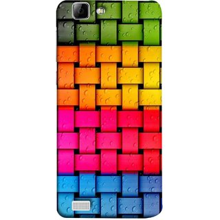 FUSON Designer Back Case Cover For Vivo Y27 :: Vivo Y27L (Bright And Beautiful Colour Strips And Band Glossy)
