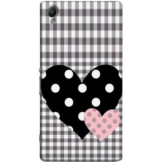 FUSON Designer Back Case Cover For Sony Xperia Z2 (5.2 Inches) (Two Hearts Towels Pink Love Lovers Small Checks )