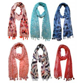 Printed Poly cotton set of Six Scarf and Stoles for women