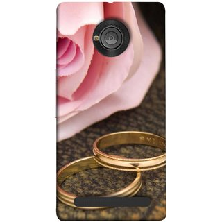 FUSON Designer Back Case Cover For YU Yunique (Golden Rings On Pink Rose Petal With Pink Rose Flower )