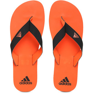 ADIDAS ORANGE BLACK EZAY MAX OUT SLIPPERS FLIP-FLOPS