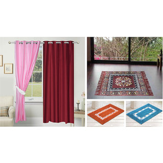 Azaani beautiful solid set of two polyster door curtain with one jute sitting mat and two cotton bathmat(AZ2SOLIDCURTAIN1BROWNSITTINGMAT2BATHMAT-27)