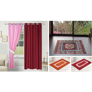 Azaani beautiful solid set of two polyster door curtain with one jute sitting mat and two cotton bathmat(AZ2SOLIDCURTAIN1BROWNSITTINGMAT2BATHMAT-29)