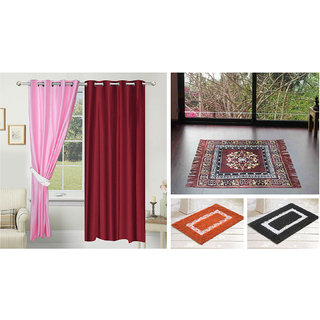 Azaani beautiful solid set of two polyster door curtain with one jute sitting mat and two cotton bathmat(AZ2SOLIDCURTAIN1BROWNSITTINGMAT2BATHMAT-30)