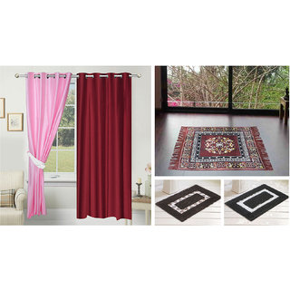 Azaani beautiful solid set of two polyster door curtain with one jute sitting mat and two cotton bathmat(AZ2SOLIDCURTAIN1BROWNSITTINGMAT2BATHMAT-31)