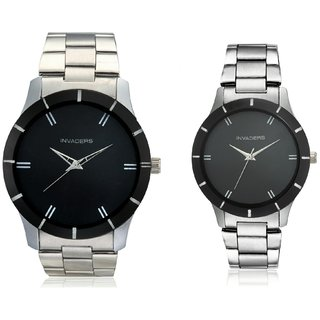 Invaders INV-LBRL-PAIR Black dial stainless chain couple watches