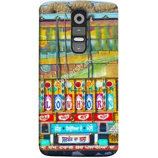 FUSON Designer Back Case Cover for LG G2 :: LG G2 Dual D800 D802 D801  D802TA D803 VS980 LS980  (Decorated Goods Carrier On Indian Road Stop Dil Tera)