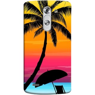 FUSON Designer Back Case Cover for LG G3 Stylus :: LG G3 Stylus D690N :: LG G3 Stylus D690 (Colorful Island Sunset Painting Canvas Wallpapers )