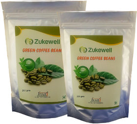 Zukewell Green Coffee Beans Unroasted Arabica Coffee Beans - 200gm for Weight Loss Management Pack of 2