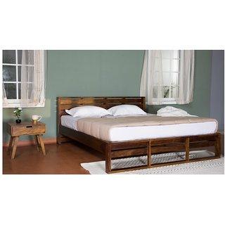 Vintej Home Solide Sheesham Wood  Teak Finish King Size Bed