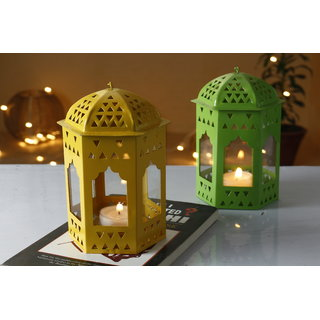 Anasa Decorative Metal Cage Lantern Hanging Tealight Candle Holder Green and yellow 6.5 inch Wedding Celebration And dec