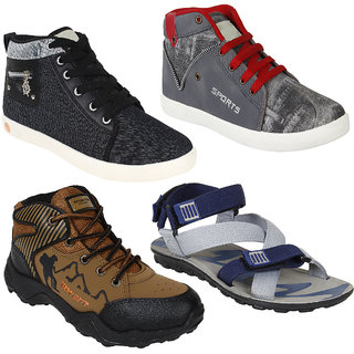 Bersache Men Combo Pack of 4 (Casual Shoes With Sandal)