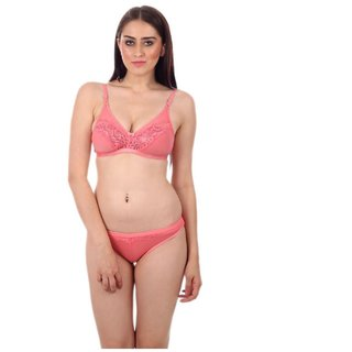 Buy Pink Lace Bra Panty Set Online - Get 46% Off f7e205a5a