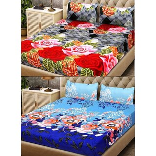 Home Berry Micro Fiber 2 Double Bed Sheets with 4 Pillow Covers