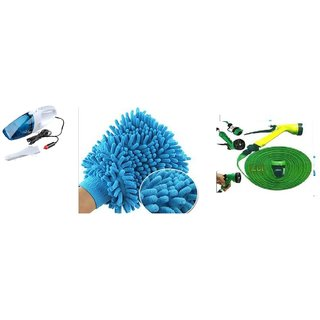 love4ride Combo Car Wet & Dry Vacuum Cleaner+Microfiber Glove+ Water Spray gun