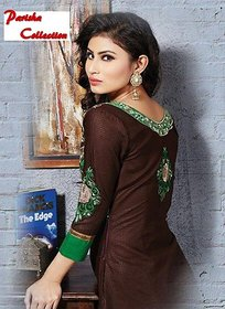 Brown Unstitched Cotton Dress Material
